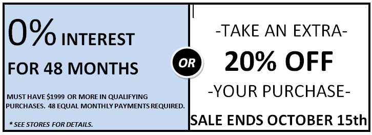 20 percent off or 48 months financing