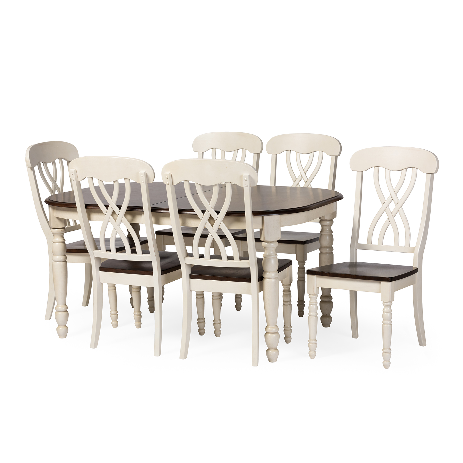 Product Reviews For Baxton Studio Newman Chic Country Cottage Antique Oak  Wood And Distressed White 7 Piece Dining Set With 5 Feet Extendable Dining  Table