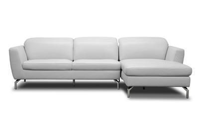 Baxton Studio Geddis Pale Gray Leather Modern Sectional Sofa ORG $1597 SALE PRICE $1278