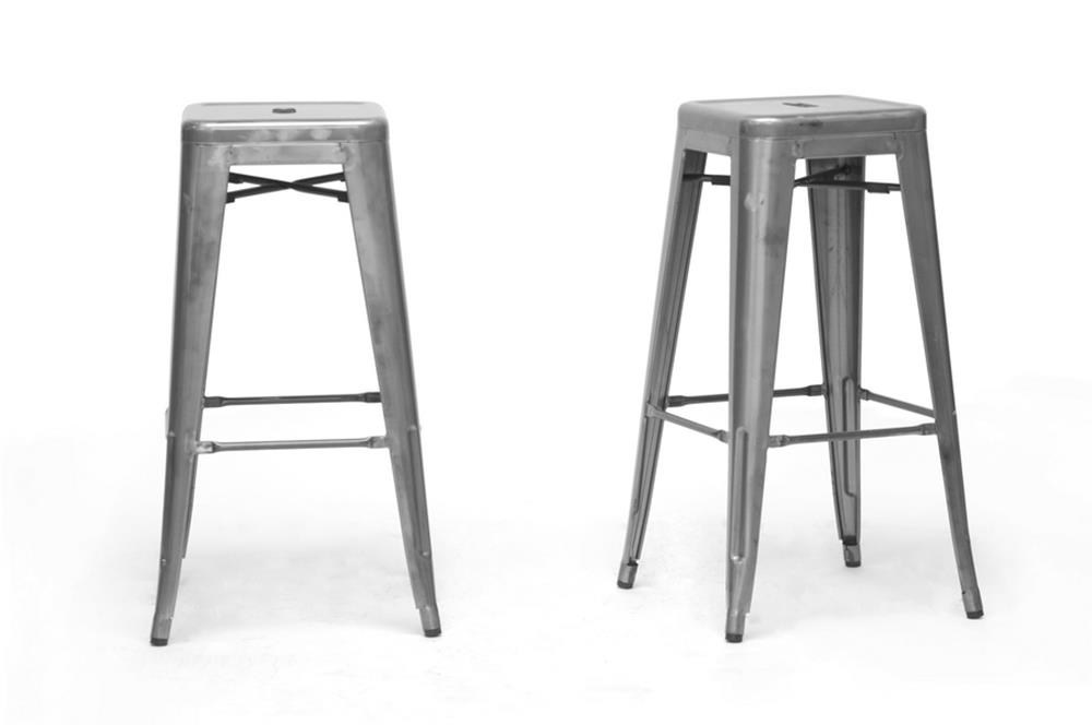 Baxton Studio French Industrial Modern Bar Stool in Gunmetal (Set of 2) ORG $100 SALE PRICE $90