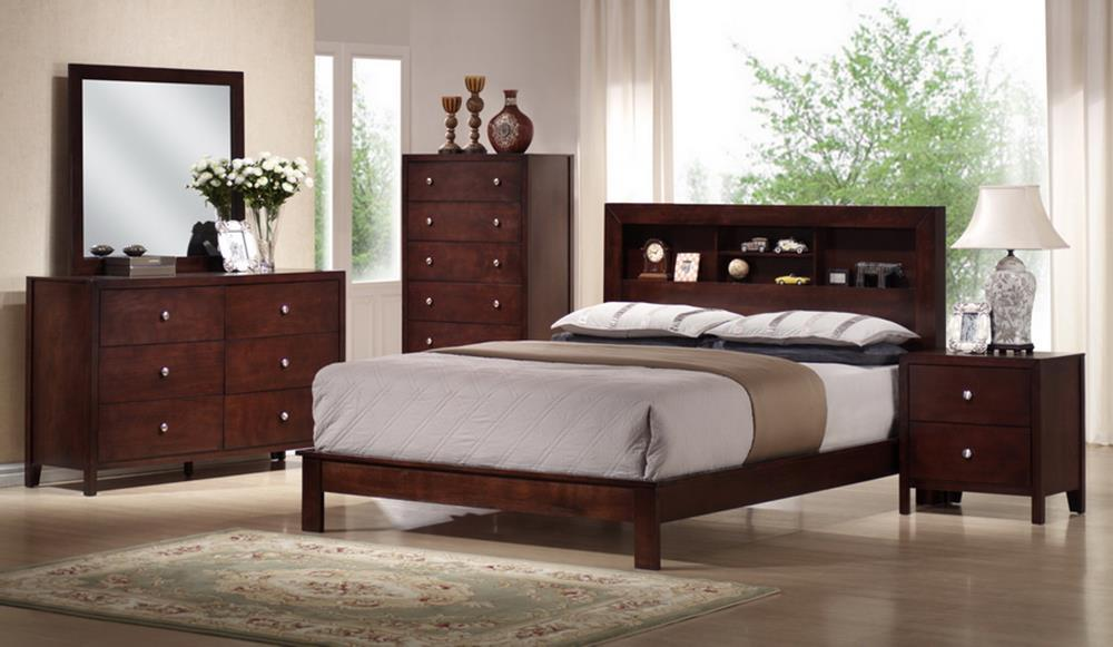baxton studio montana mahogany brown wood 5 piece queen modern bedroom set org 683 sales - Modern Bedroom Furniture Chicago