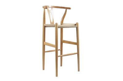BBaxton Studio Mid-Century Modern Wishbone Stool - Natural Wood Y Stool ORG $209 SALES PRICE $188