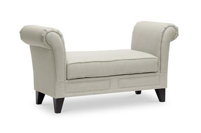 Baxton Studio Marsha Light Beige Linen Modern Scroll Arm Bench ORG $239 SALES PRICE $215
