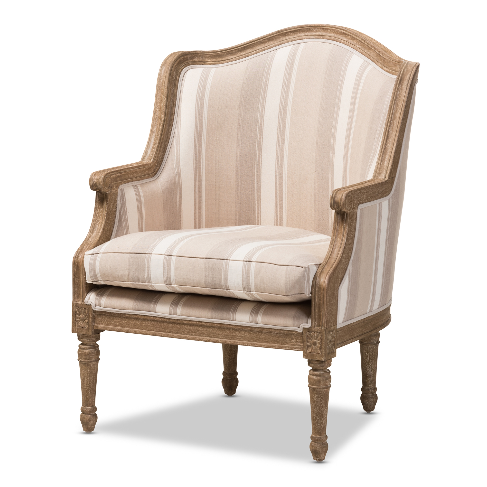Baxton Studio Charlemagne Traditional French Accent Chair Oak (Brown  Stripe) | Affordable Modern Furniture In Chicago