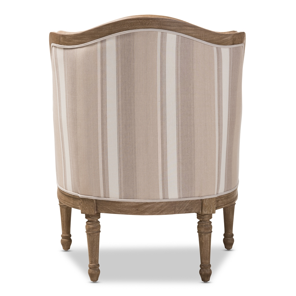 Traditional accent chairs -  Baxton Studio Charlemagne Traditional French Accent Chair Oak Brown Stripe Bsoass293mi Cg4