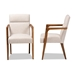 Baxton Studio Andrea Mid-Century Modern Beige Fabric Upholstered and Walnut Brown Finished Wood Armchair - BSOBBT5267-Beige-Chair