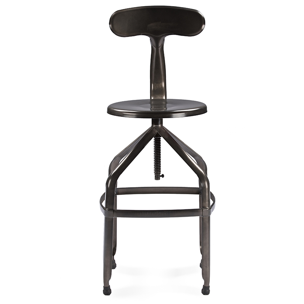 Baxton Studio Architect's Industrial Bar Stool with Backrest in ...