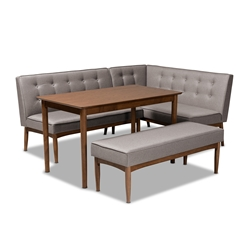 Baxton Studio Arvid Mid-Century Modern Gray Fabric Upholstered 4-Piece Wood Dining Nook Set Affordable modern furniture in Chicago, classic dining room furniture, modern dining sets, cheap dining sets