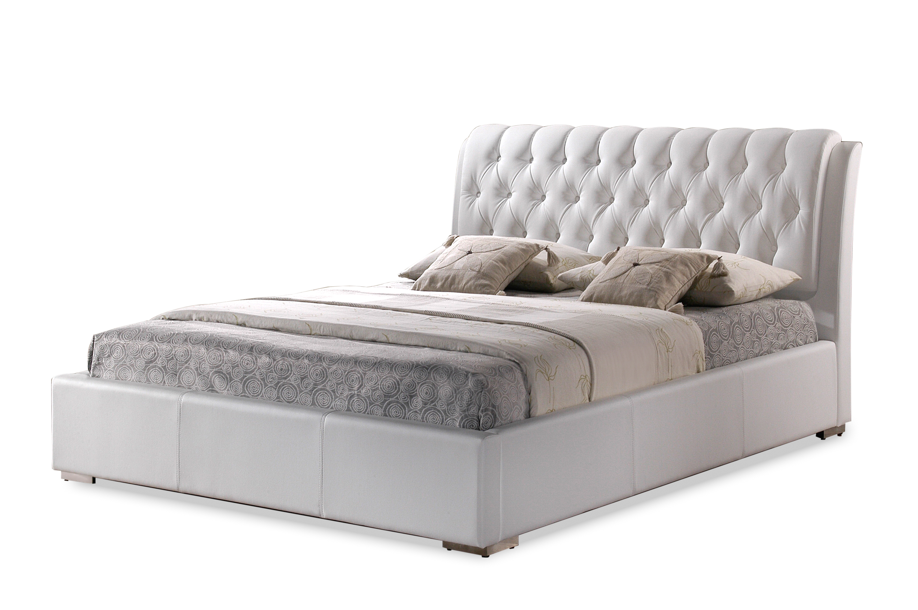 Bianca White Modern Bed with Tufted Headboard - Queen Size ...
