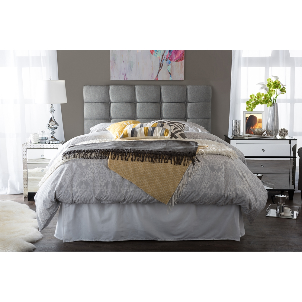 baxton studio bordeaux modern and contemporary grey fabric queen size headboard. Black Bedroom Furniture Sets. Home Design Ideas