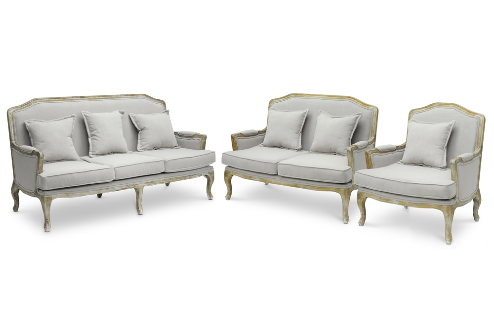 Baxton studio constanza classic antiqued french sofa set Living room furniture sets studio