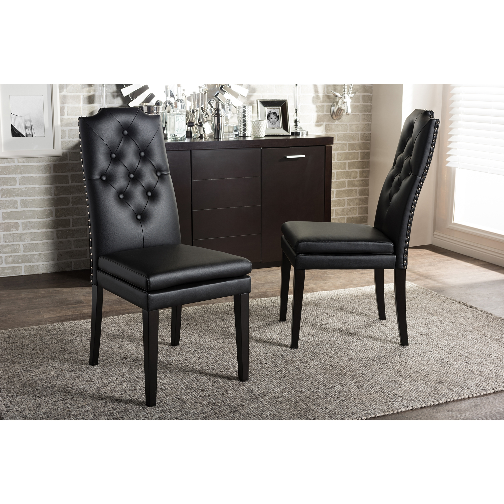 Baxton Studio Dylin Modern And Contemporary Black Faux Leather Button Tufted  Nail Heads Trim Dining Chair