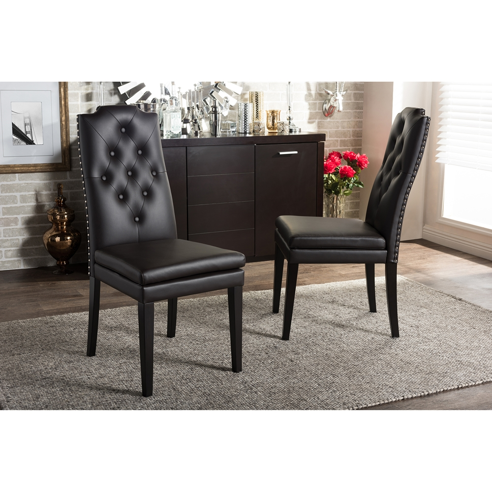 Baxton studio dylin modern and contemporary dark brown for Modern brown leather dining chairs