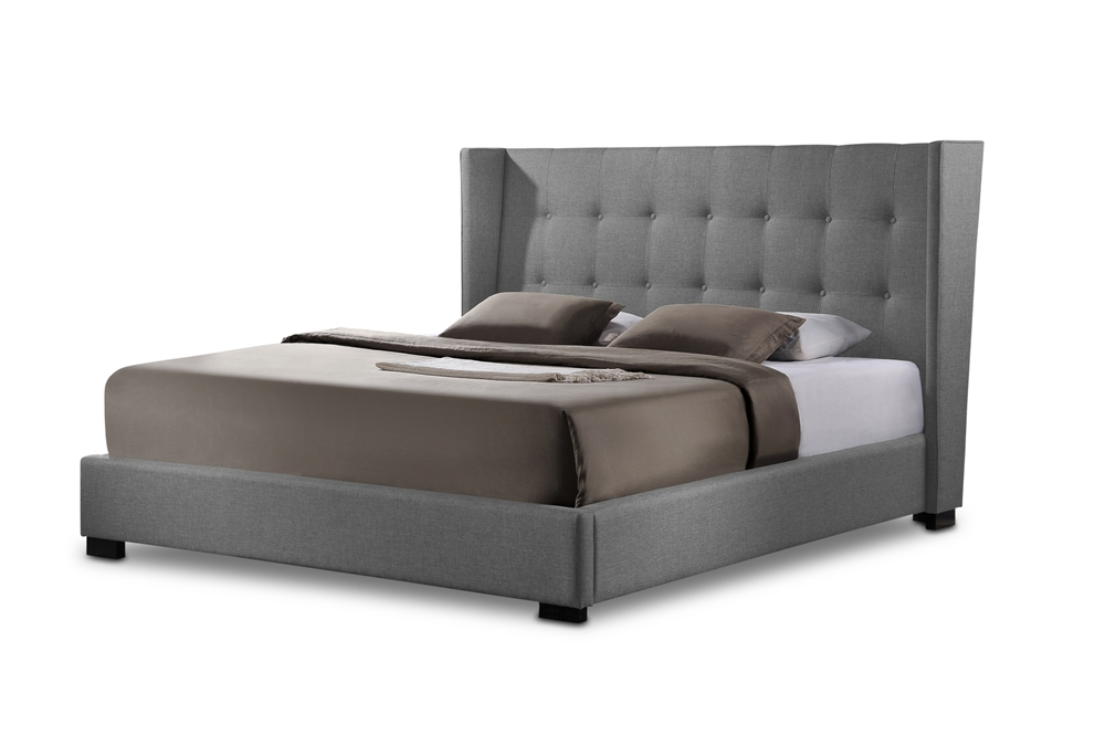 Baxton Studio Favela Gray Linen Modern Bed With