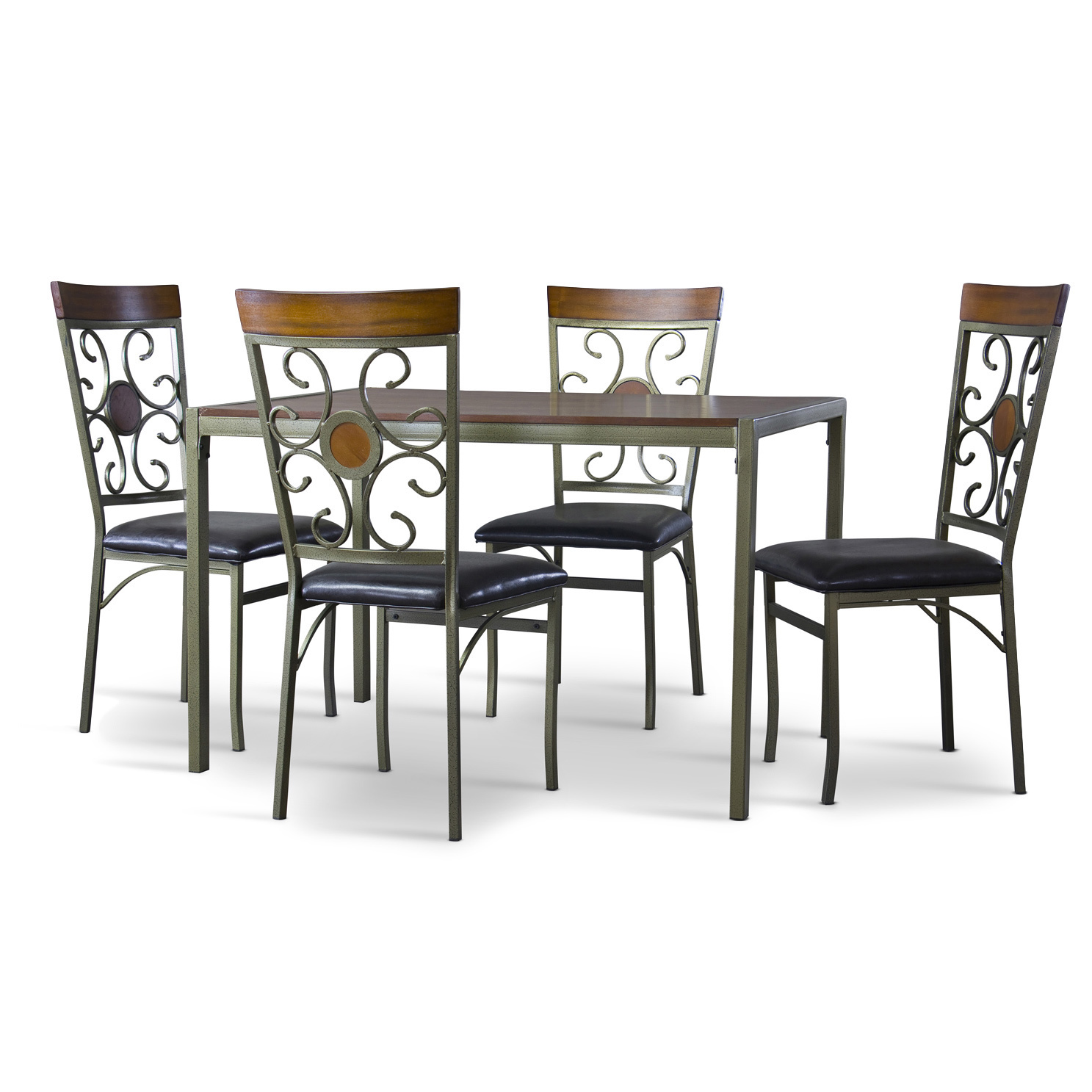 Baxton Studio Fiore Wood And Metal 7 Piece Transitional Dining Set    BSOWR D151R ...