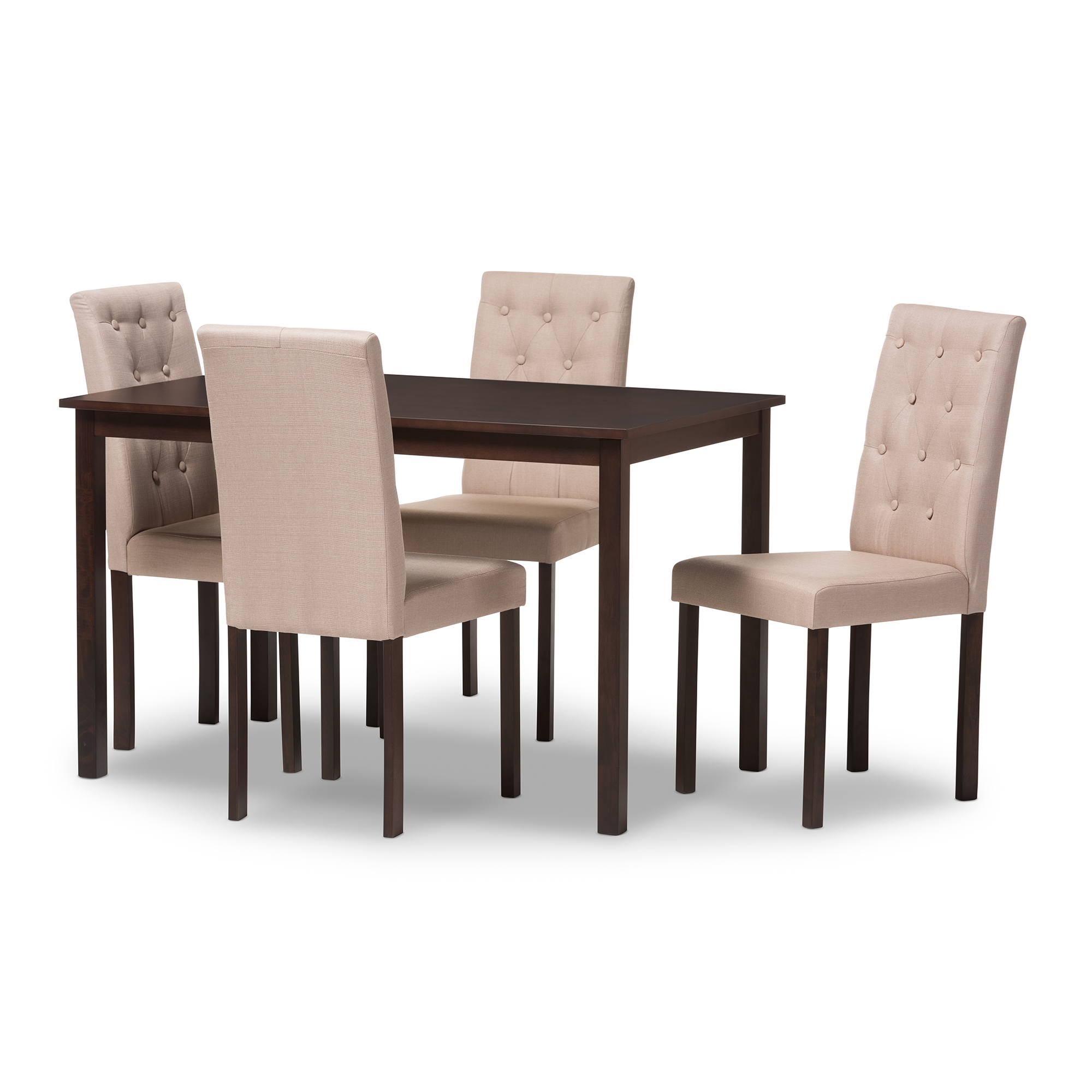 Baxton Studio Gardner Modern And Contemporary 5 Piece Dark Brown Finished  Beige Fabric Upholstered Dining