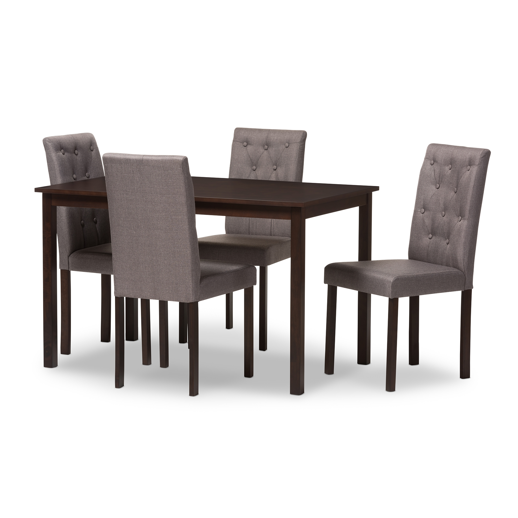 baxton studio gardner modern and 5piece dark brown finished grey fabric upholstered dining