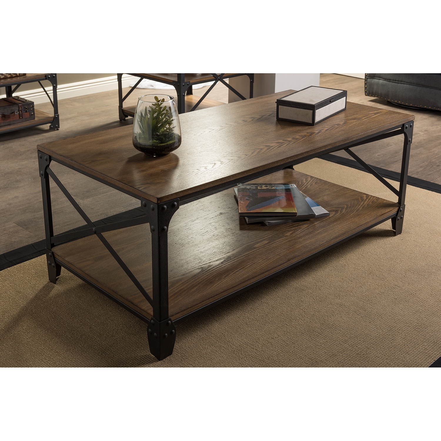 ... Baxton Studio Greyson Vintage Industrial Antique Bronze Occasional  Cocktail Coffee Table   BSOYLX 2694 CT ...