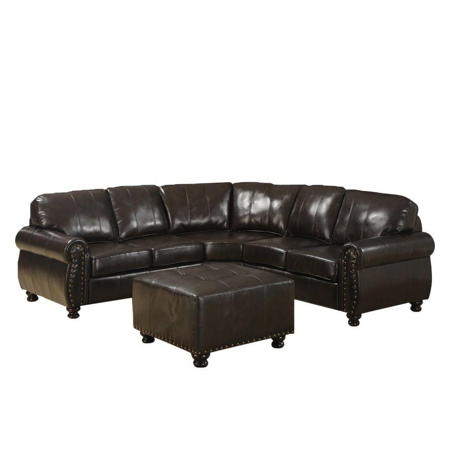 Baxton Studio Hammond Brown Leather Modern Sectional Sofa