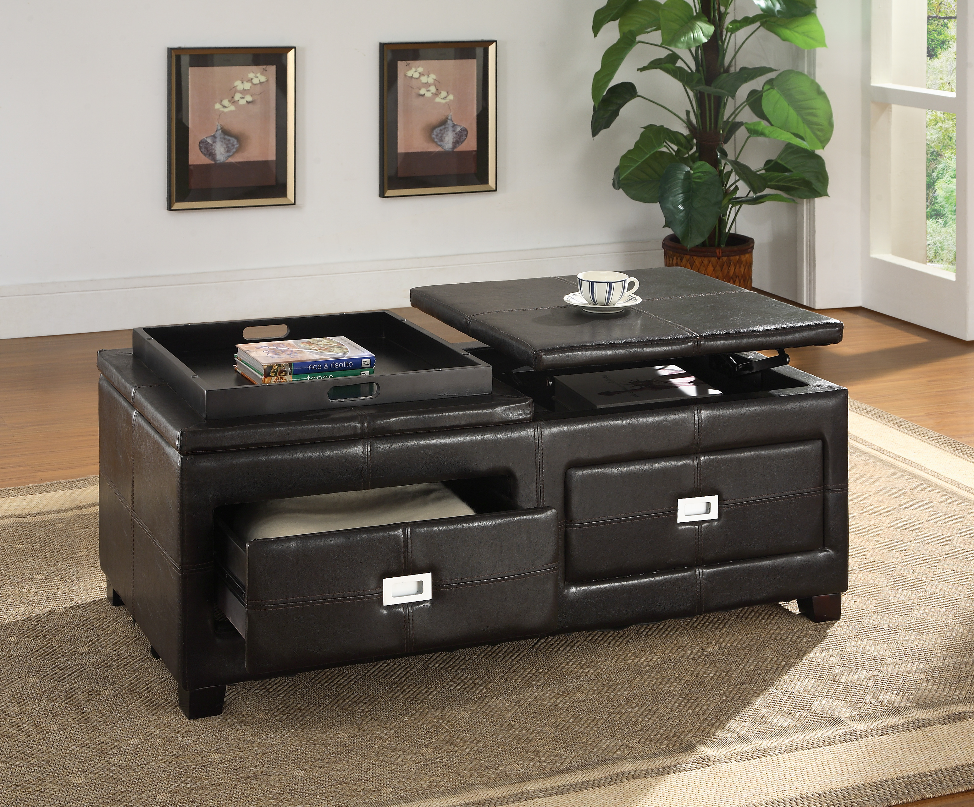 Coffee Table Storage Ottoman With TrayCoffeTable