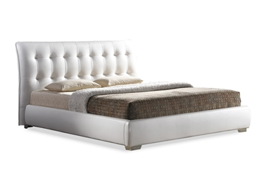 baxton studio jeslyn white modern bed with tufted headboard king size affordable modern furniture in - Modern Bedroom Furniture Chicago