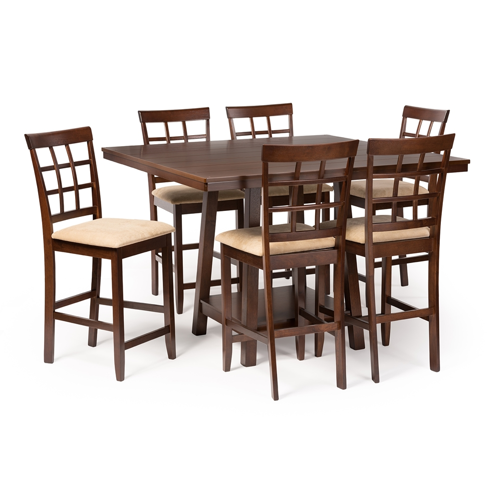 Baxton studio katelyn modern pub table set 7 piece for Affordable modern dining sets