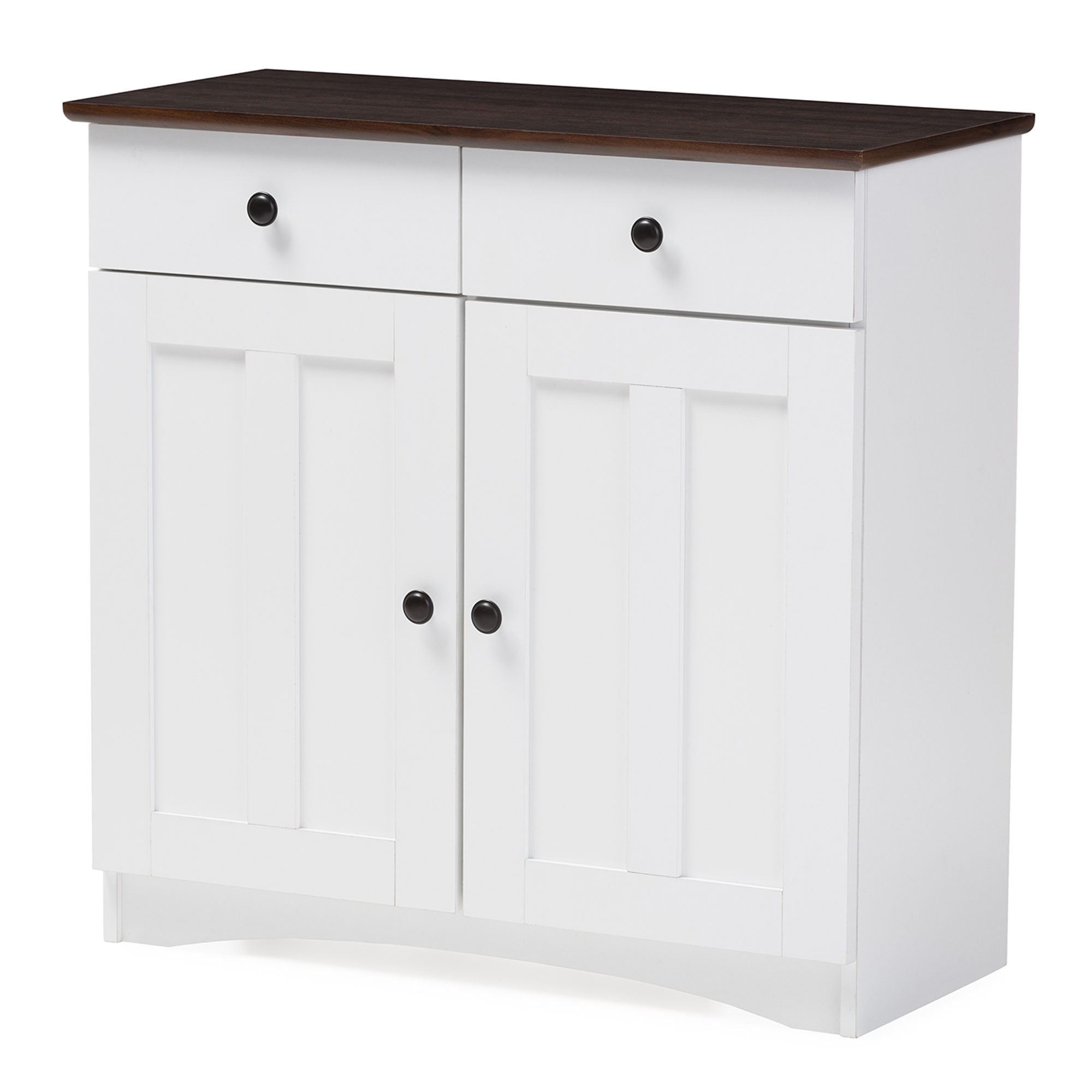 Baxton Studio Lauren Modern And Contemporary Two Tone White And Dark Brown  Buffet Kitchen Cabinet With Two Doors And Two Drawers