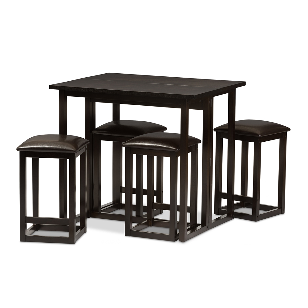 Leeds Brown Wood Collapsible Pub Table Set Affordable Modern Furniture In Chicago