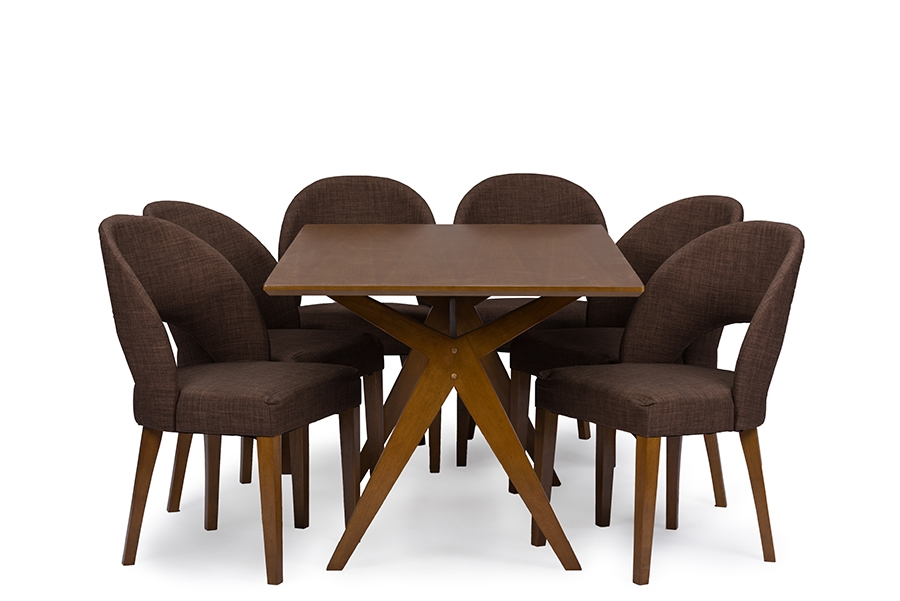 Baxton Studio Lucas Mid Century Style Walnut Brown 7 Piece Dining