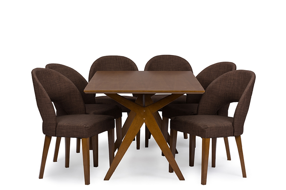 Baxton studio lucas mid century style walnut brown 7 piece for 7 piece dining room sets under 1000