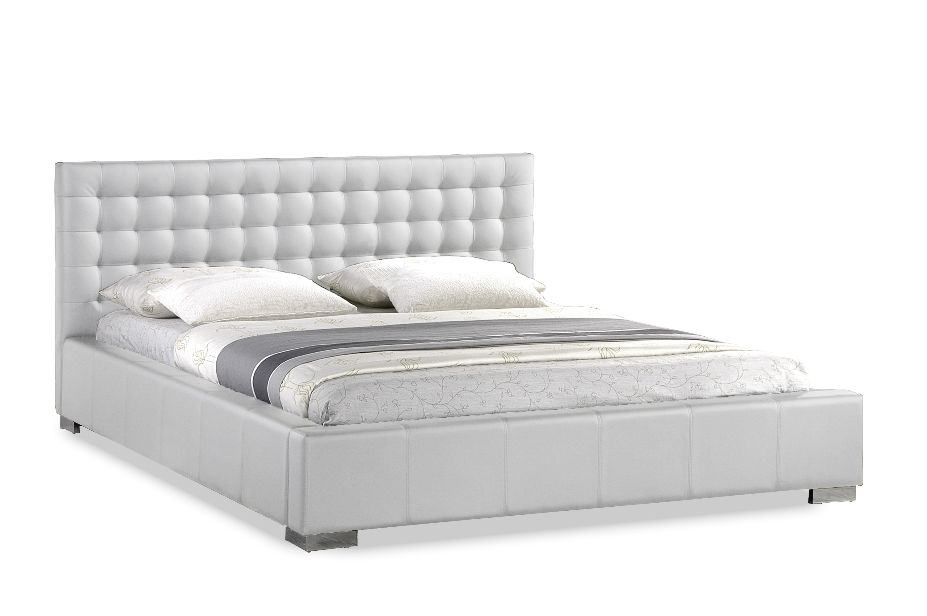 Madison White Modern Bed With Upholstered Headboard   King Size |  Affordable Modern Furniture In Chicago