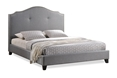 Baxton Studio Marsha Scalloped Gray Linen Modern Bed with Upholstered Headboard - Full Size Affordable modern furniture in Chicago, Baxton Studio Marsha Scalloped Gray Linen Modern Bed with Upholstered Headboard - Full Size,  Bedroom Furniture, Chicago