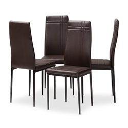 Baxton Studio Matiese Modern and Contemporary Brown Faux Leather Upholstered Dining Chair (Set of 4) Affordable modern furniture in Chicago, classic dining furniture, modern chair, cheap dining chairs