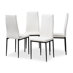 Baxton Studio Matiese Modern and Contemporary White Faux Leather Upholstered Dining Chair (Set of 4) Affordable modern furniture in Chicago, classic dining furniture, modern chair, cheap dining chairs