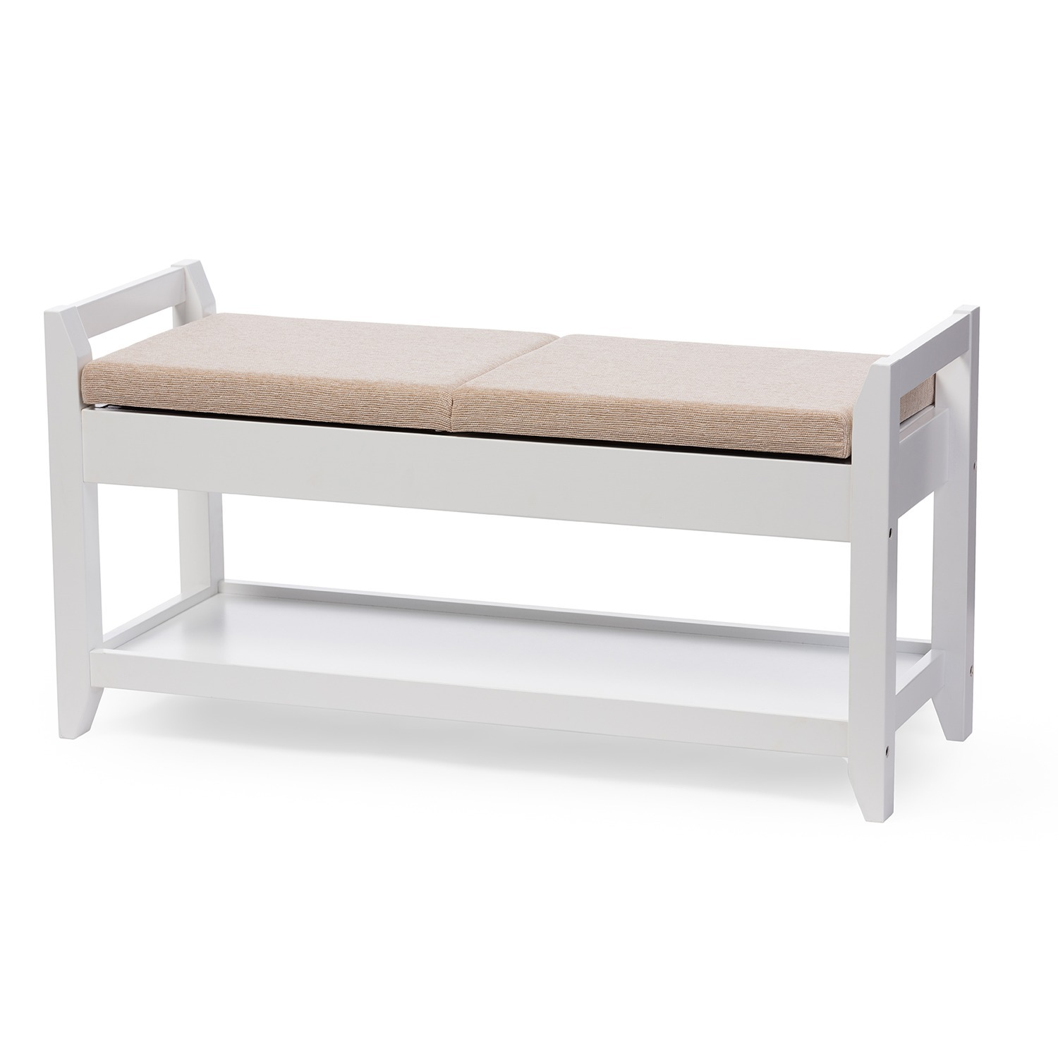 Baxton Studio Maudie Modern And Contemporary White Wooden Shoe Storage Seating Bench With Taupe