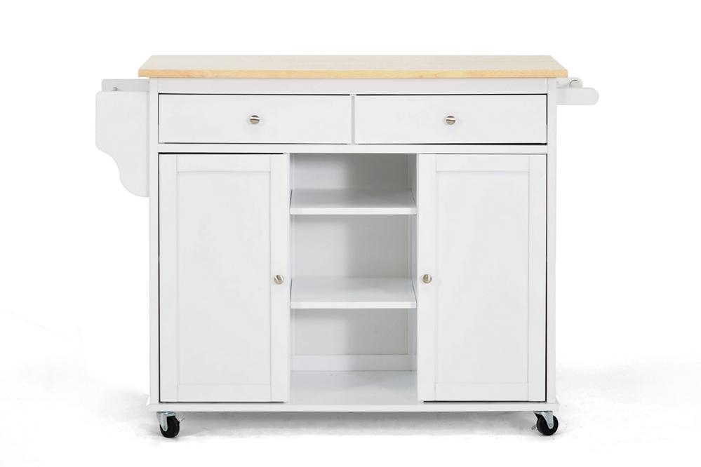 Meryland White Modern Kitchen Island Cart | Affordable Modern