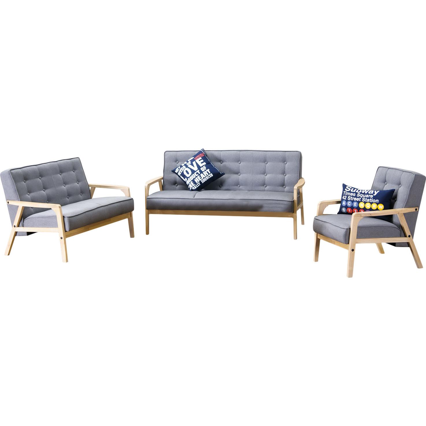 Baxton Studio Mid Century TIMOR 3PC Sofa Set Gray   BSOTIMOR 3PC Sofa Set  ...
