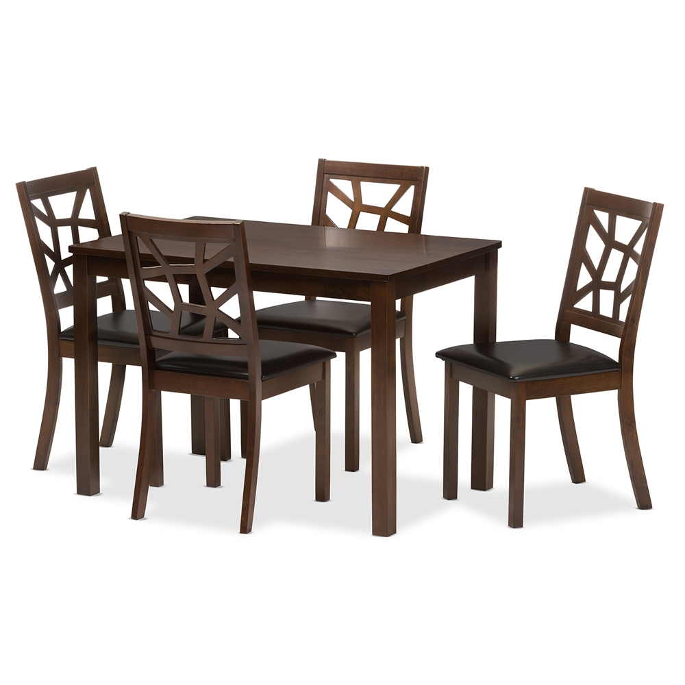 Baxton studio mozaika black leather contemporary 5 piece for Contemporary dining set
