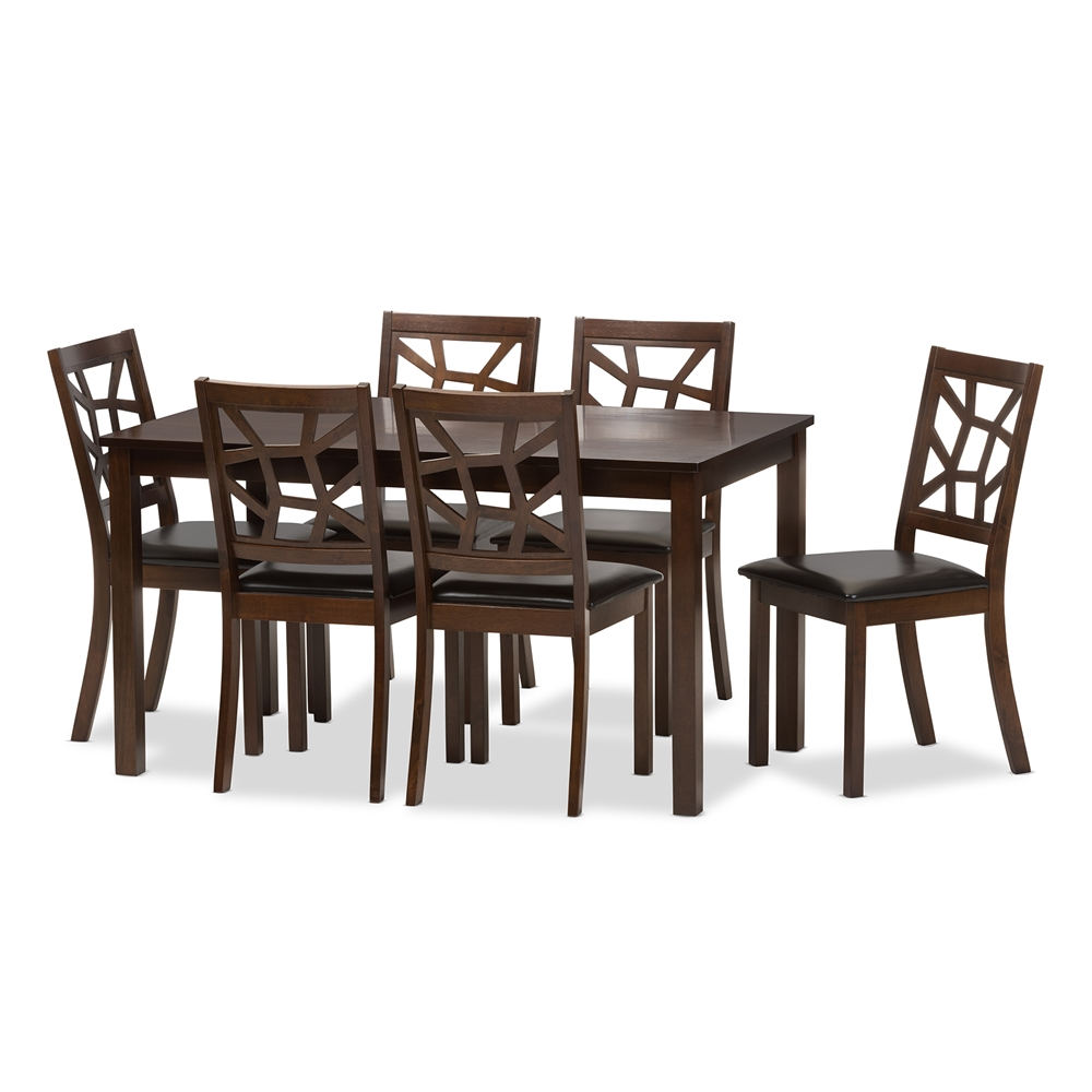 Baxton studio mozaika wood and leather contemporary 7 for Affordable modern dining sets