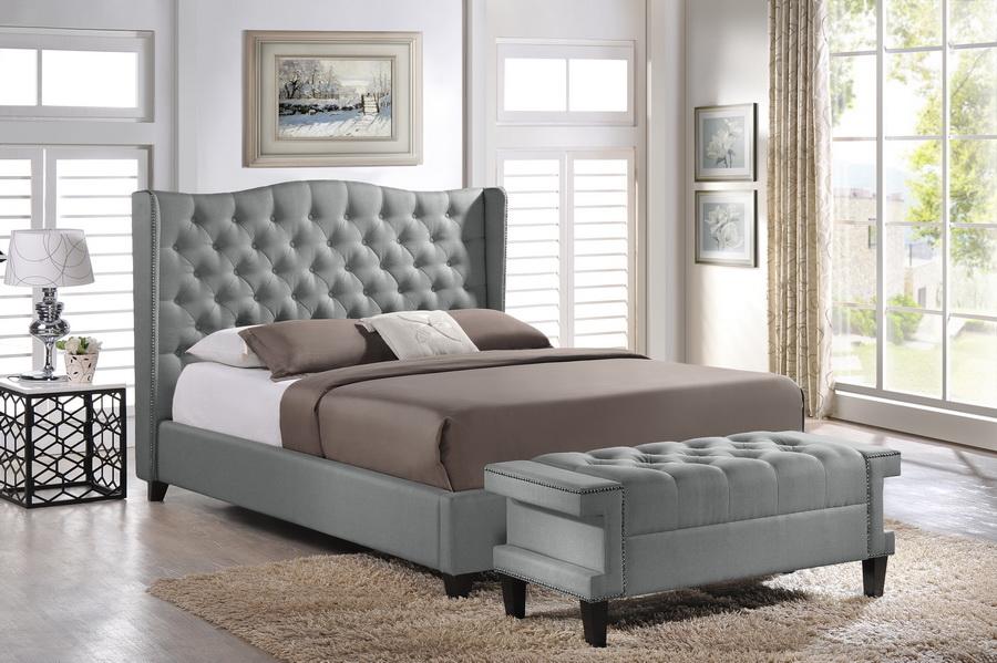 Baxton Studio Norwich Grey Linen Modern Bedroom Set