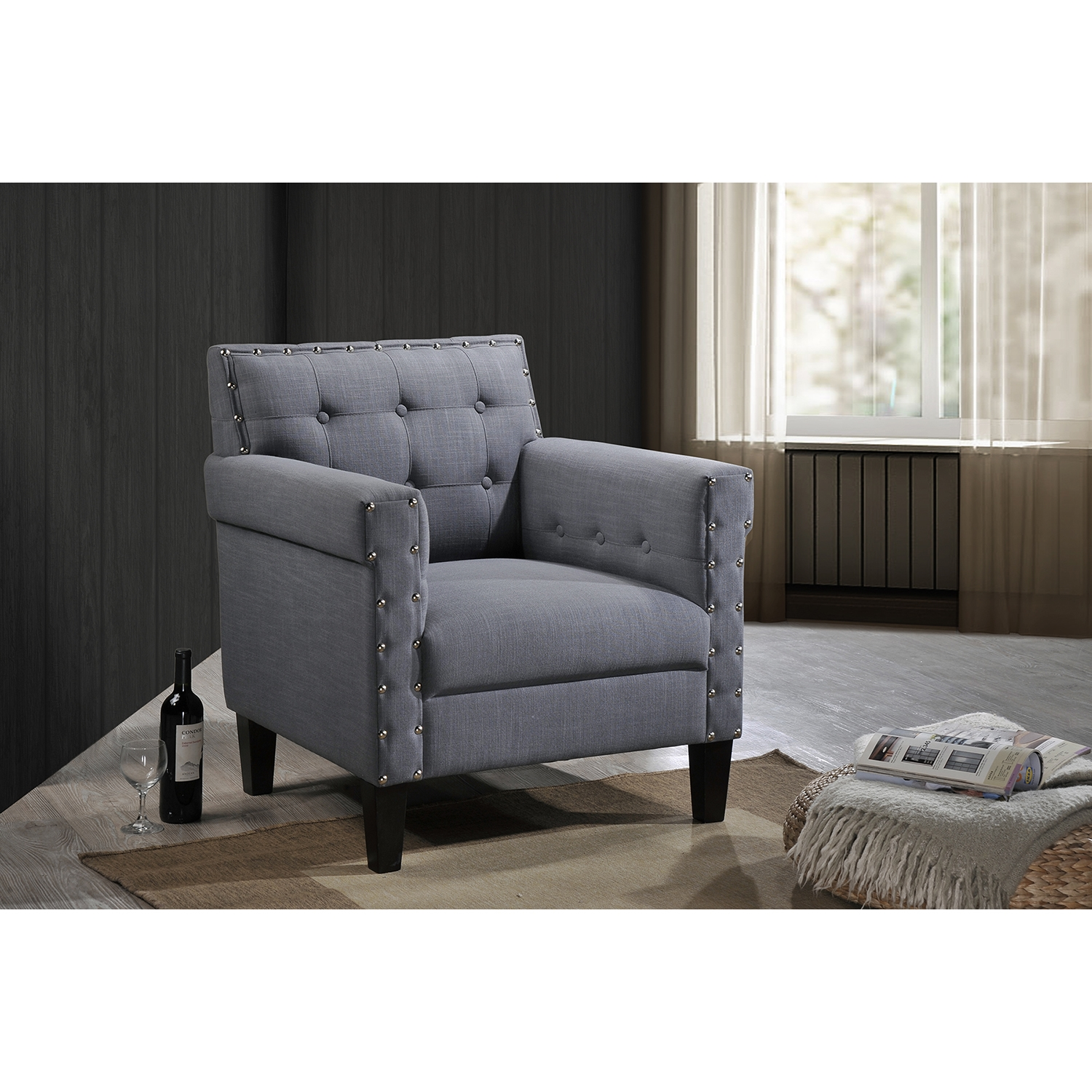 baxton studio odella modern and grey linen upholstered armchair with nailheads