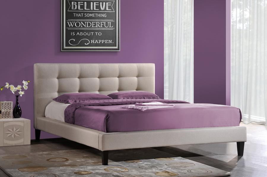 Baxton Studio Quincy Light Beige Linen Platform Bed King Size Affordable Modern Furniture In