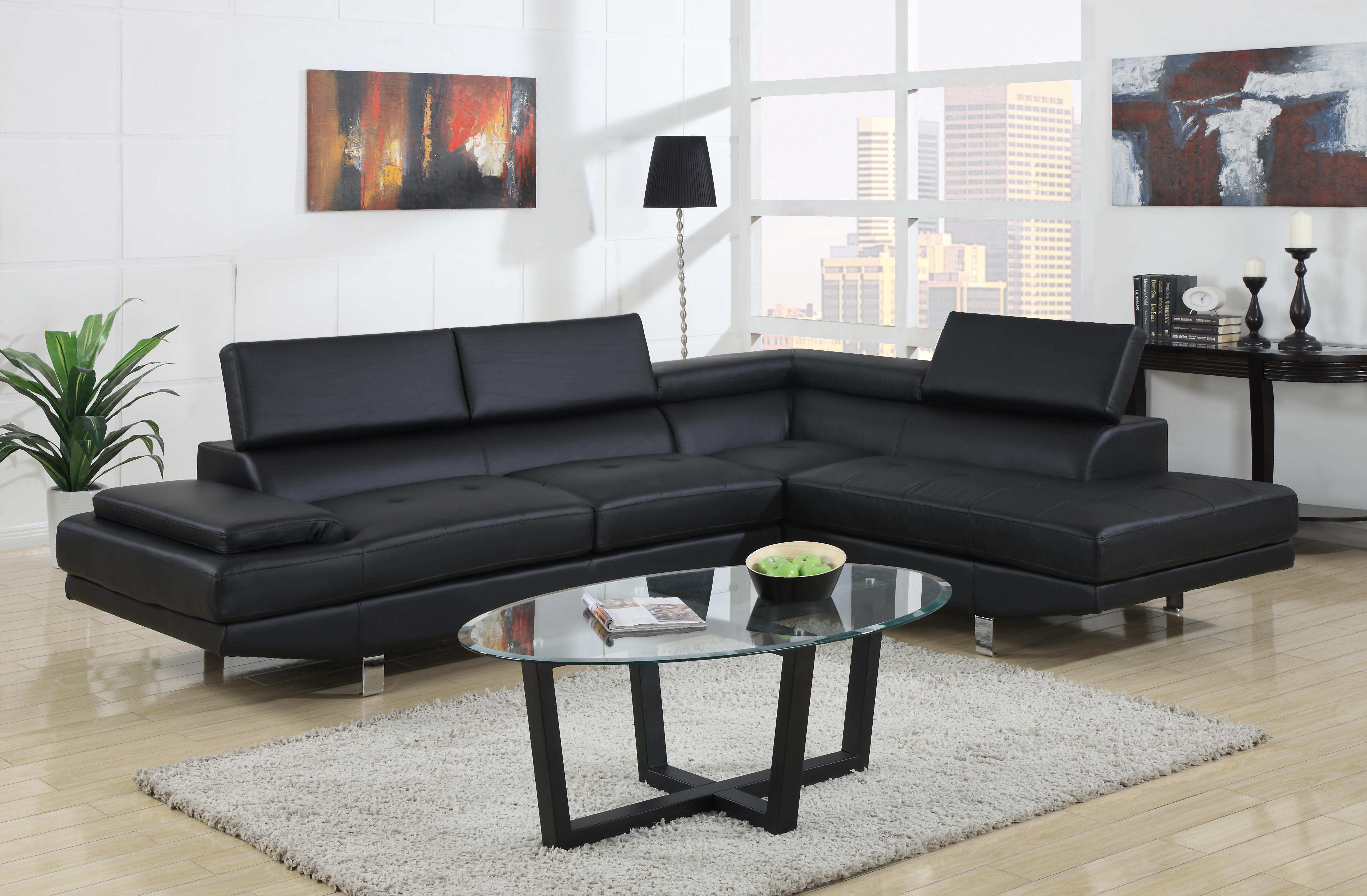 Marvelous ... Baxton Studio Selma Black Leather Modern Sectional Sofa    BSOIDS077P SEC RFC Black