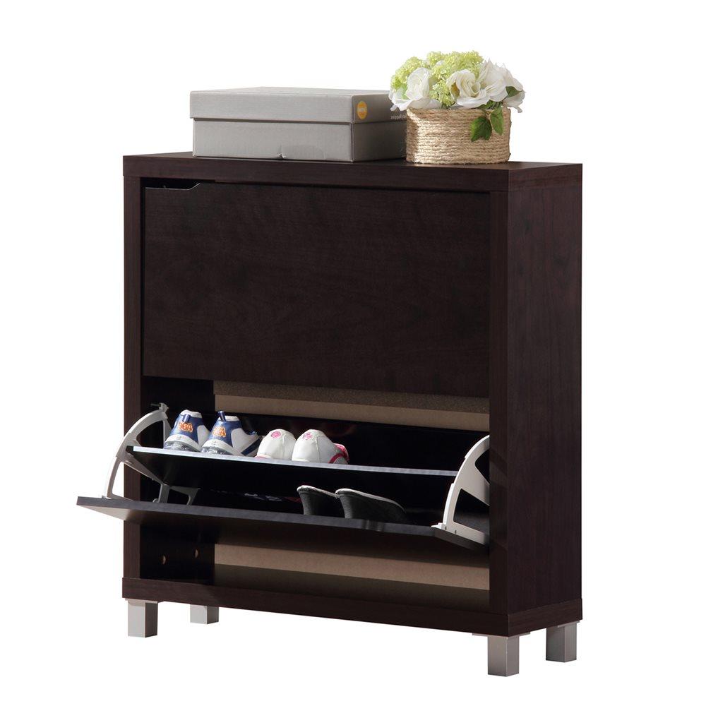 Bon Baxton Studio Simms Dark Brown Modern Shoe Cabinet