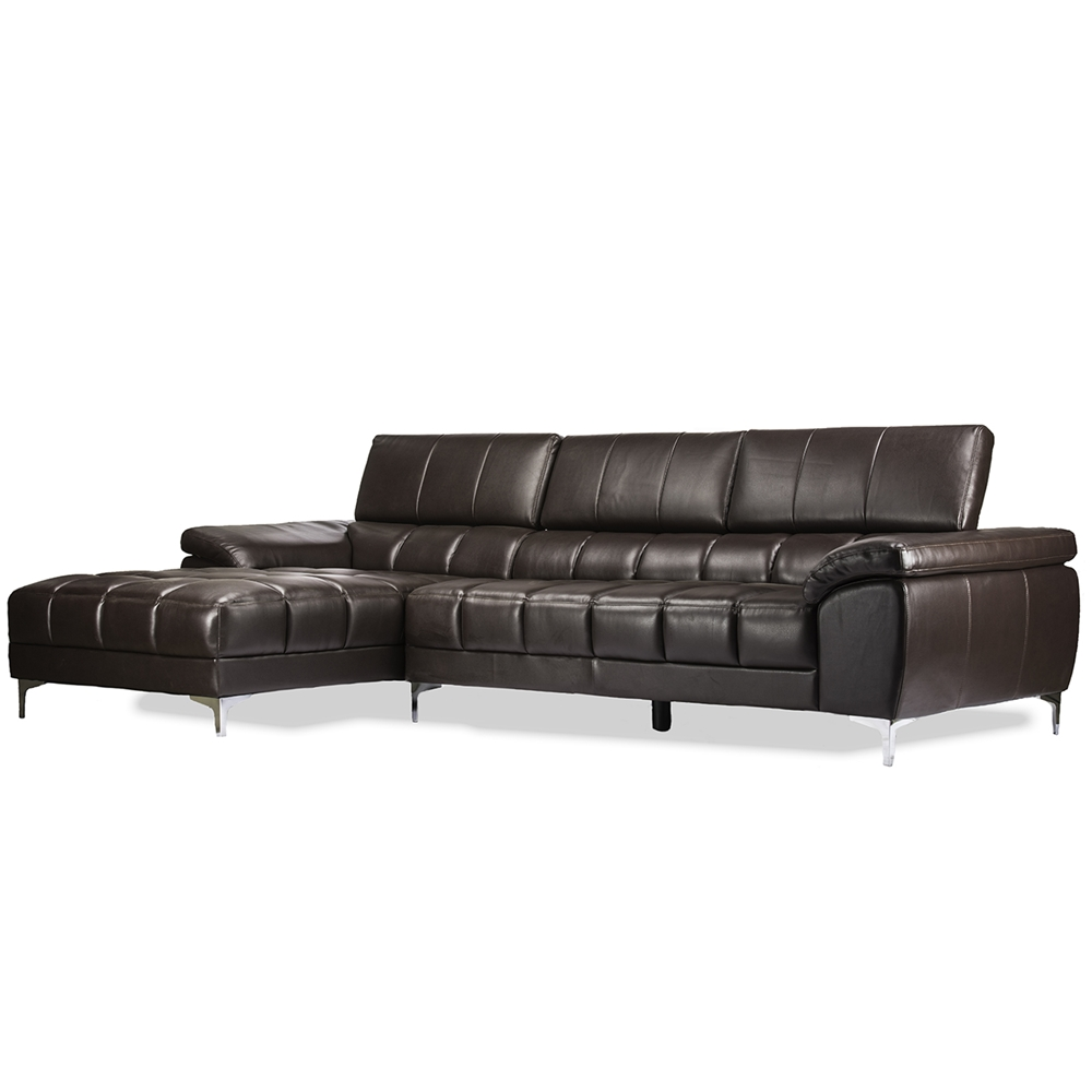 Sosegado Brown Leather Sectional Sofa with Right Facing Chaise