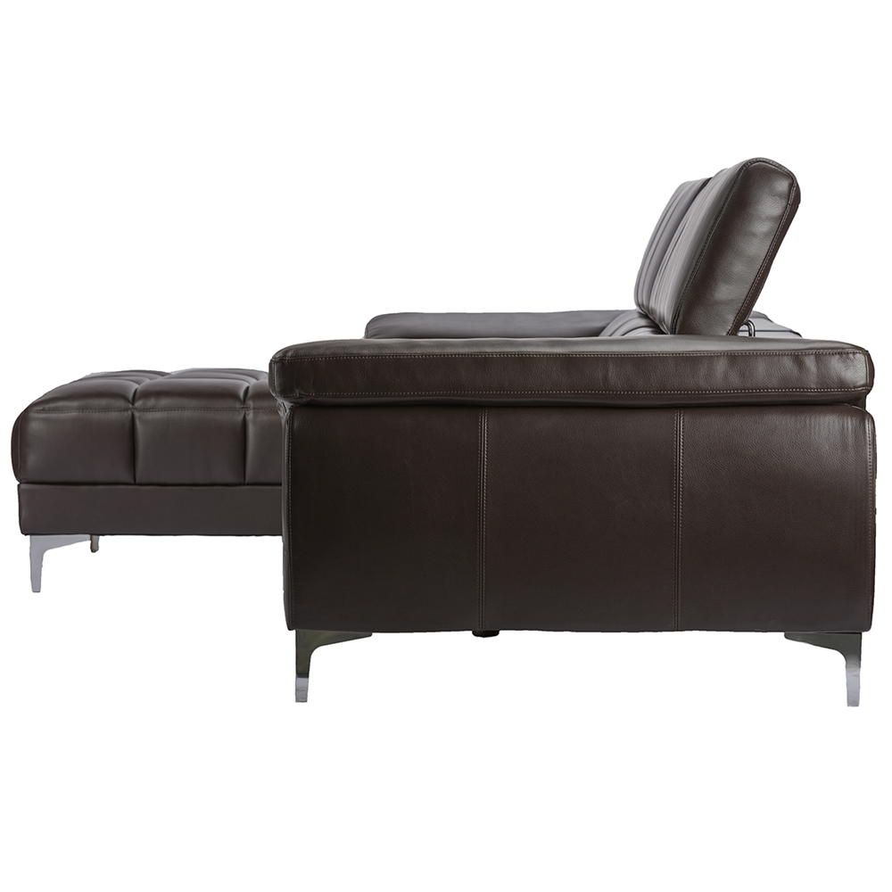 Baxton Studio Sosegado Brown Leather Sectional Sofa With Left Facing  Chaise - BSOU2386S-BLBW-