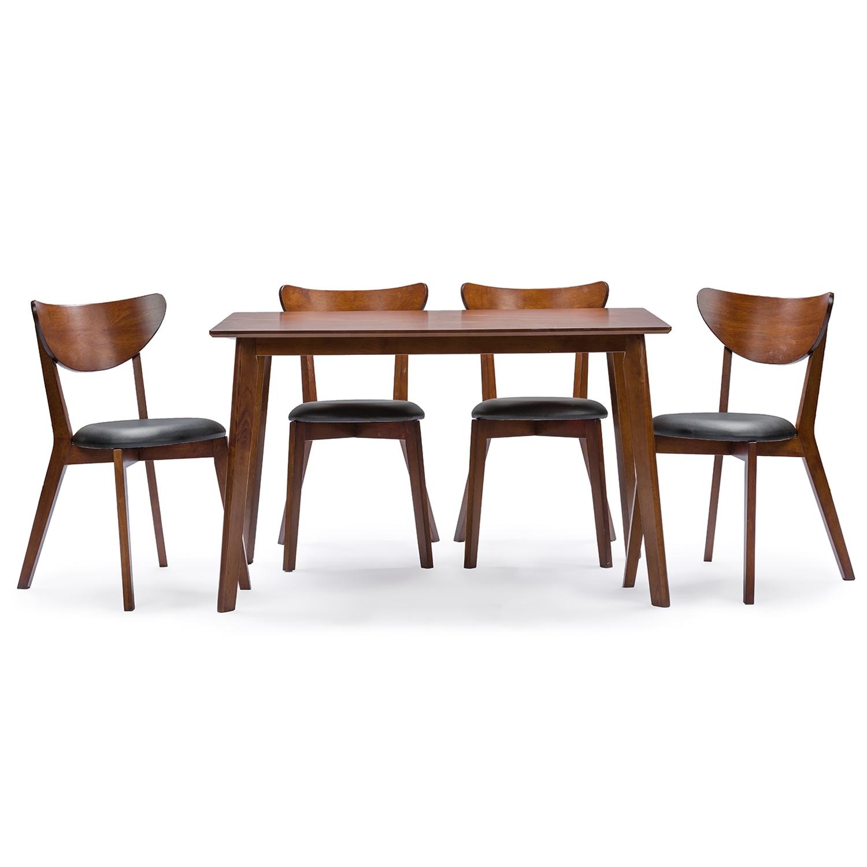 Baxton Studio Sumner Mid Century Style Walnut Brown 5 Piece Dining Set    BSORT331 ...