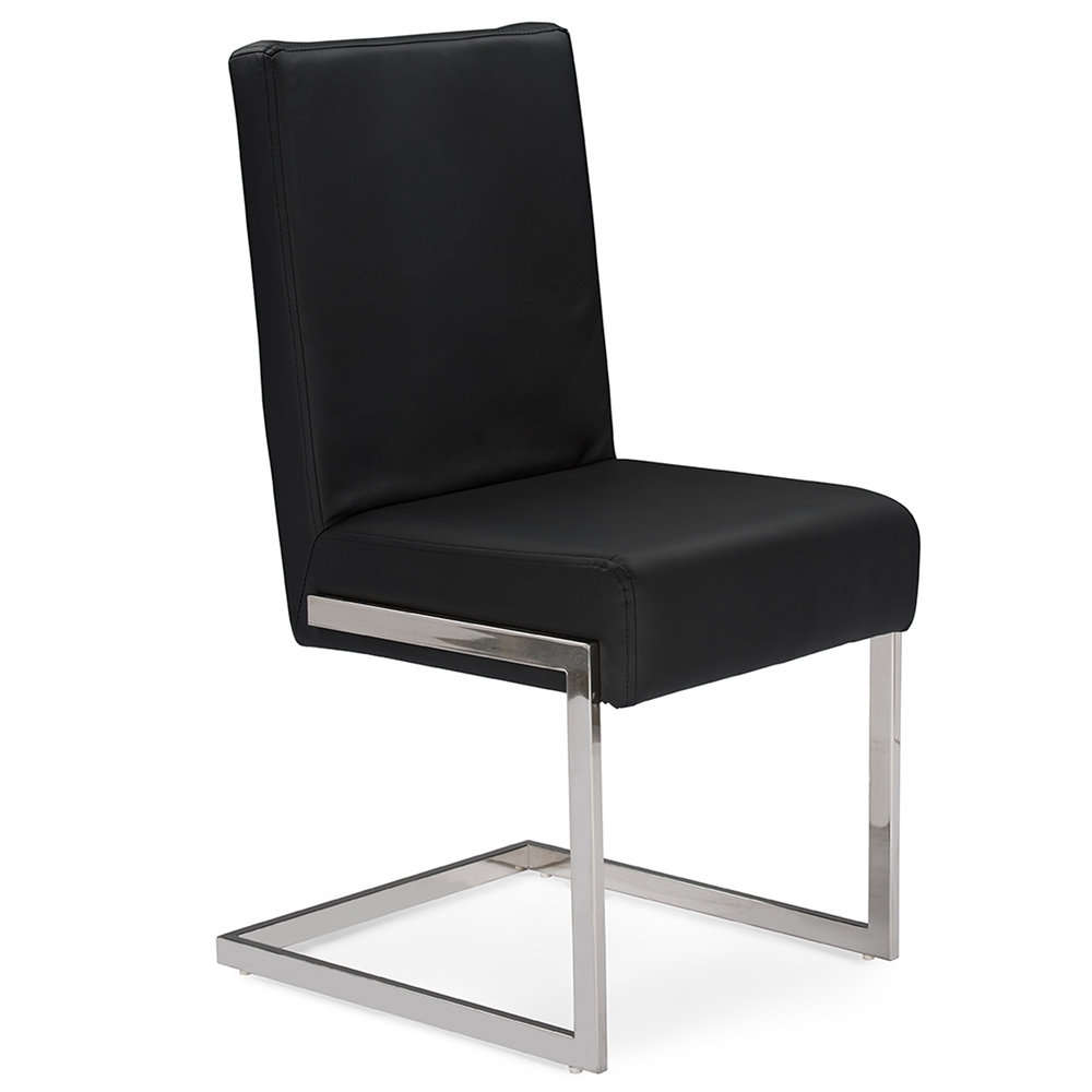 Baxton studio toulan modern and contemporary black faux for Modern black dining chairs