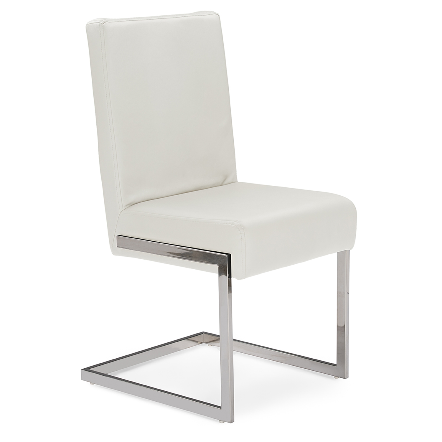 baxton studio toulan modern and white faux leather upholstered stainless steel dining chair set of 2