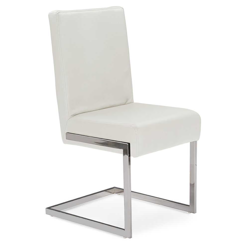 Baxton studio toulan modern and contemporary white faux for Contemporary leather dining chair
